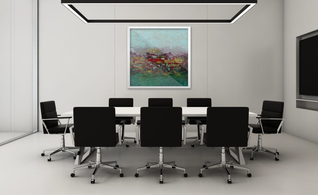 Tala Atrouni fine art in Company meeting room