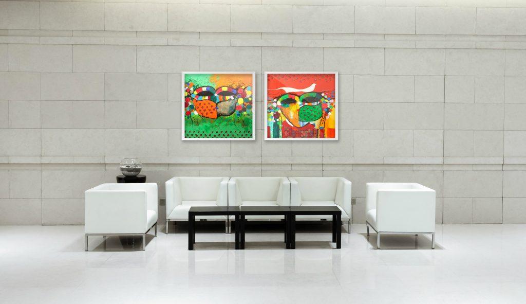 Khulood Al Jabri artwork in hotel lobby